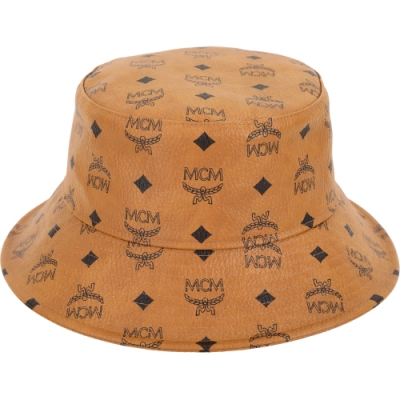 MCM Visetos 經典圖騰塗層帆布漁夫帽(白蘭地色)