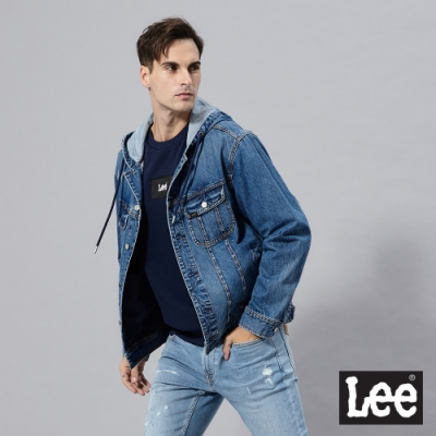 Lee 牛仔外套 連帽寬鬆 男 淺藍