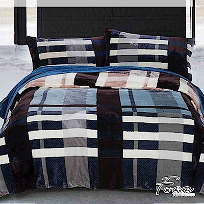 FOCA 簡約格紋   雙人-極緻保暖法萊絨四件式兩用毯被套床包組