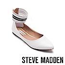STEVE MADDEN-AMAZE繞踝伸縮帶尖頭平底鞋-白色