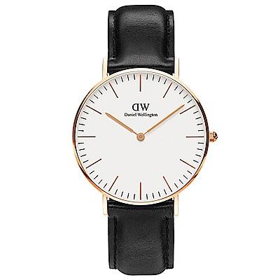DW手錶 官方旗艦店 36mm玫瑰金框 Classic 爵士黑真皮皮革手錶