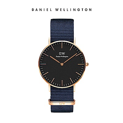 DW 手錶 官方旗艦店 36mm玫瑰金框 Classic 星空藍織紋手錶