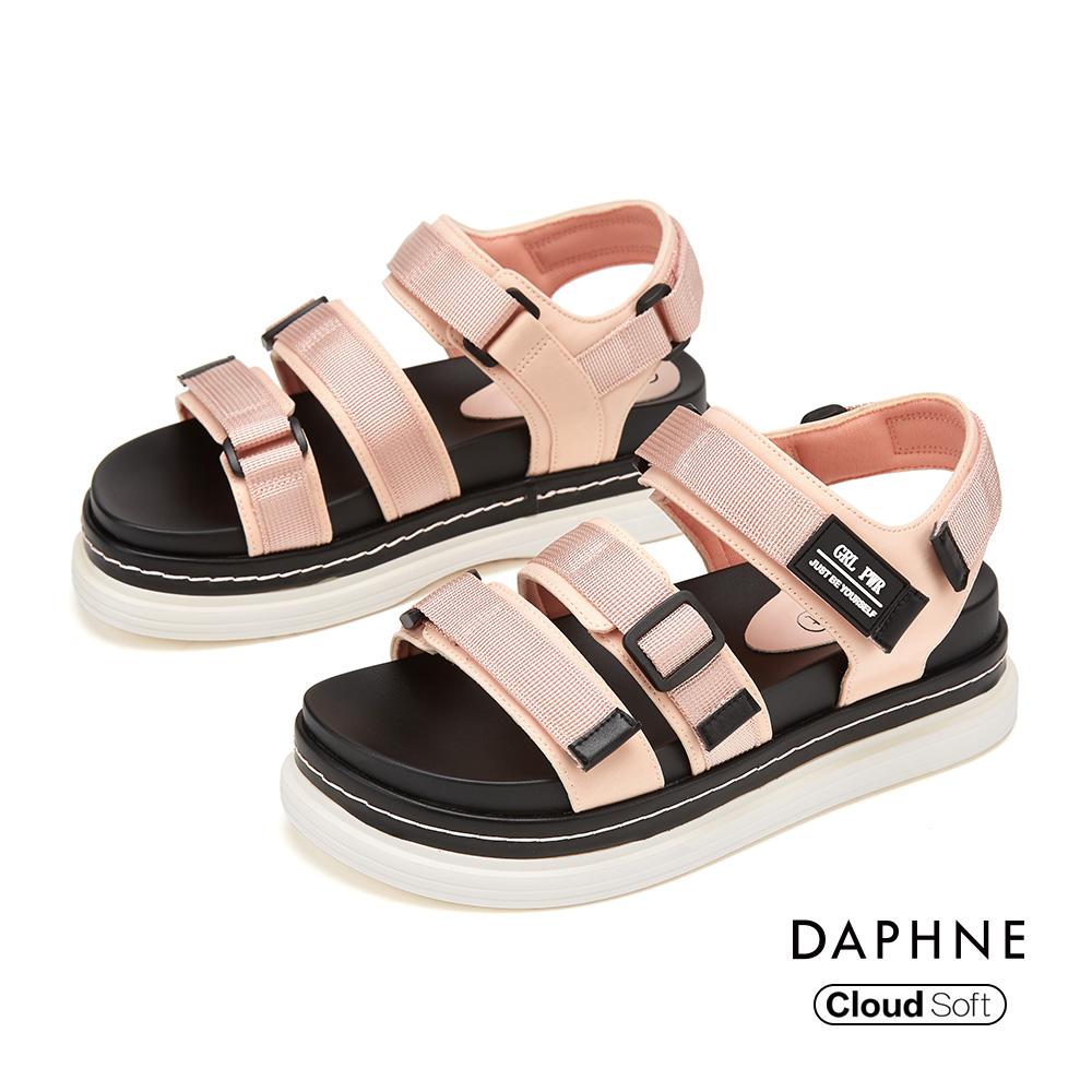 達芙妮DAPHNE 涼鞋-雙條帶魔鬼氈潮流舒適休閒涼鞋-粉紅