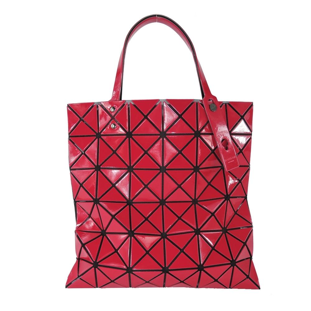 ISSEY MIYAKE 三宅一生 BAOBAO 6x6亮面手提包-紅