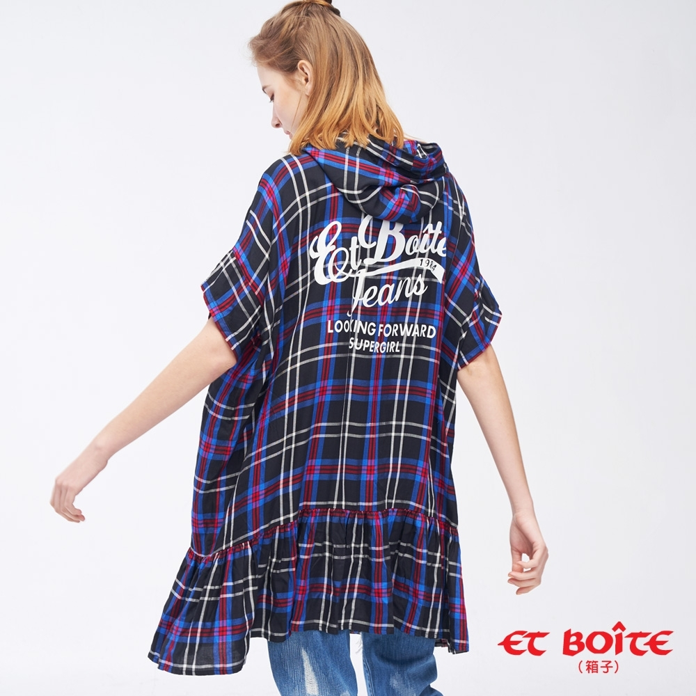 ET BOîTE  BLUE WAY –長版連帽百折下擺襯衫(紫)
