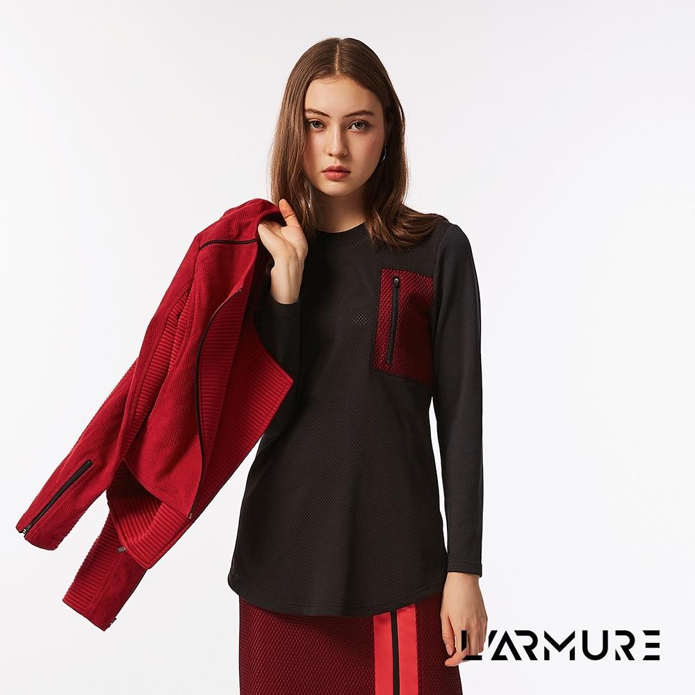 L'ARMURE 女裝 網紋撞色 上衣 紋理紅