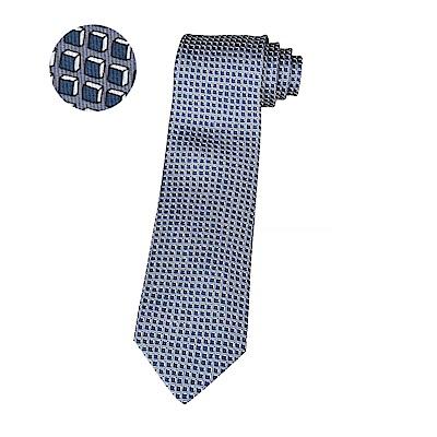 HERMES愛馬仕經典緹花LOGO藍立方格設計蠶絲領帶(灰藍)