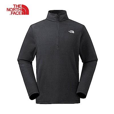 The North Face北面男款黑色保暖1/4拉鍊套頭上衣|3CGDJK3