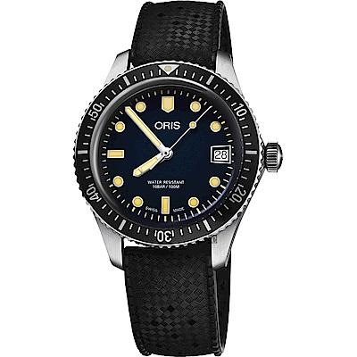 Oris 豪利時 Divers Sixty-Five 潛水機械女錶-藍x黑錶帶/36mm