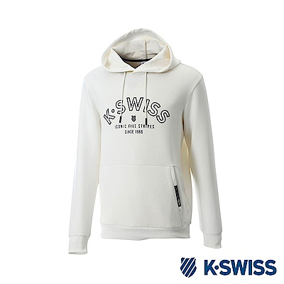 K-Swiss Hooded Sweat Shirts 休閒連帽上衣-男-白
