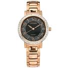CITIZEN 限量 璀璨星砂 耀眼晶鑽 礦石強化玻璃 不鏽鋼手錶-黑x鍍玫瑰金/31mm