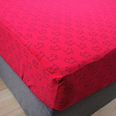 Yvonne Collection 雙人狗狗印花床包-莓紅