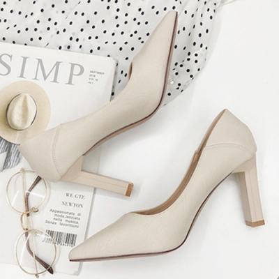KEITH-WILL時尚鞋館 韓國氣質英倫格調素面跟鞋-米白