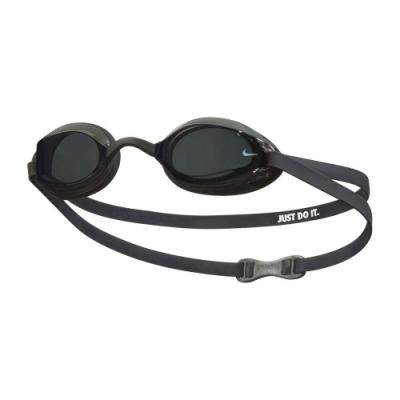 NIKE SWIM 成人專業型泳鏡-抗UV 防霧 蛙鏡 游泳 戲水 海邊 NESSA179-014 黑白
