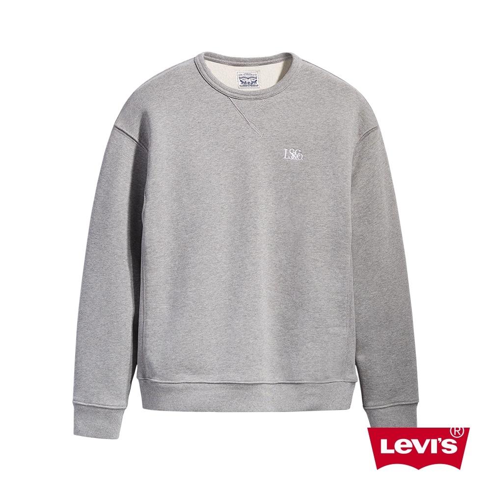 Levis 男款 頂級重磅大學T 簡約刺繡Logo 600GSM厚棉 灰