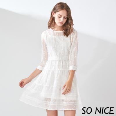 SO NICE優雅稻穗刺繡蕾絲洋裝