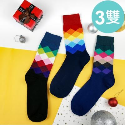 HADAY 男襪 深色漸層菱形長筒襪 紳士襪 3雙入 吸濕透氣 中長筒襪 細膩好穿