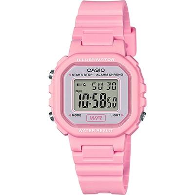 CASIO 復古風的方形電子錶款-粉(LA-20WH-4A1)/30mm