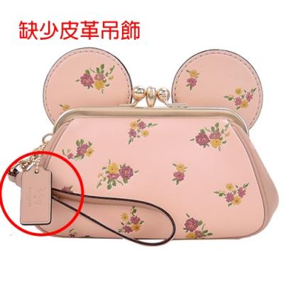 COACHxMINNIE米妮聯名款復古花印耳朵造型珠扣大手包(櫻粉)(展示品)
