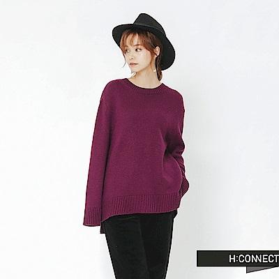 H:CONNECT 韓國品牌 女裝-側開岔圓領針織上衣-紫