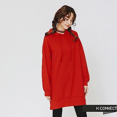 H:CONNECT 韓國品牌 女裝-後背圖像長板帽T-紅