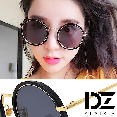 DZ 嘻圓層線 抗UV防曬太陽眼鏡墨鏡(金框灰片)