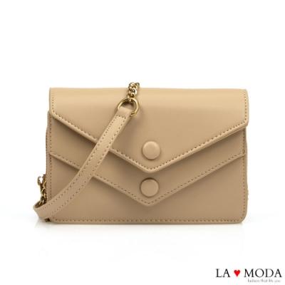 La Moda 網美超推薦信封造型多夾層大容量肩背斜背鏈帶小方包(杏)