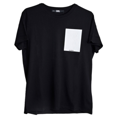 Karl Lagerfeld 葡萄牙製老佛爺反白LOGO圖騰棉質T恤(黑)