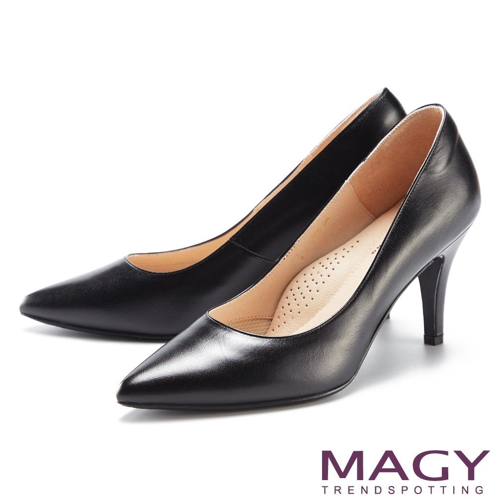 MAGY 典雅素面羊皮尖頭 女 高跟鞋 黑色