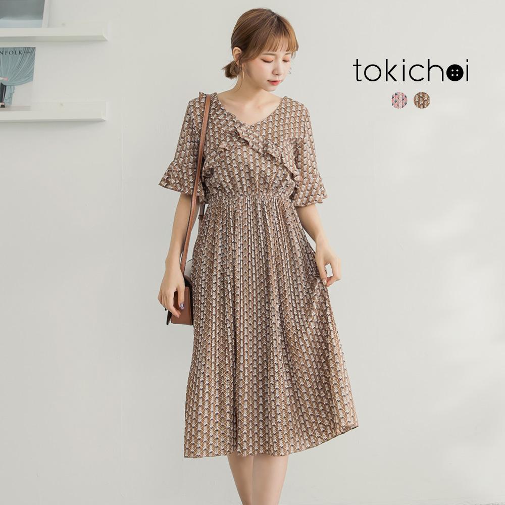 東京著衣 氣質碎花壓摺裙擺洋裝-S.M(共二色)