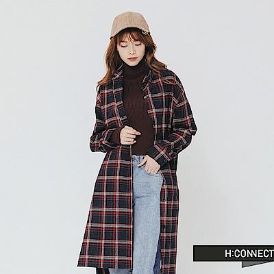 H:CONNECT 韓國品牌 女裝-後繡字長版格紋襯衫-紅