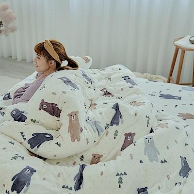 AmissU 北歐送暖法蘭絨雙人兩用毯被單人床包三件組 奇幻樂熊