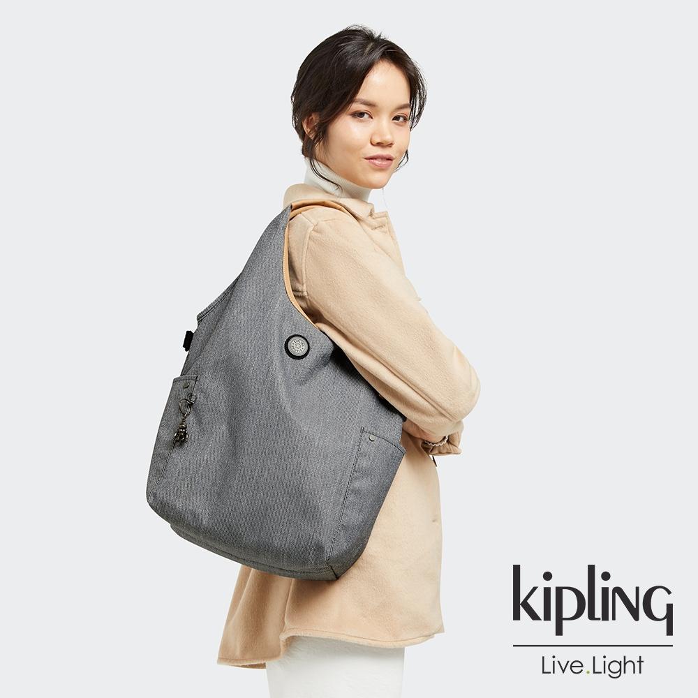 Kipling 都會時尚中性灰肩背側背包-URBANA