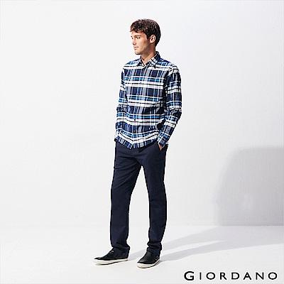 GIORDANO 男裝修身基本款彈力休閒長褲-66 標誌海軍藍