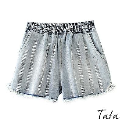 燙鑽抽鬚牛仔短褲 TATA-(L/XL)