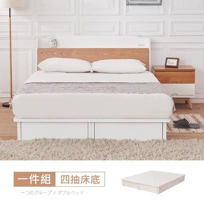 時尚屋 芬蘭6尺抽屜式加大雙人床底(不含床頭箱-床頭櫃-床墊)