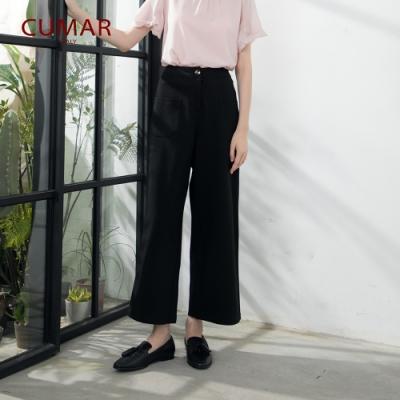 【CUMAR】簡約修飾寬版-長褲(二色/版型適中)