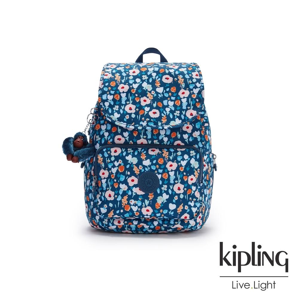 Kipling 牧場彩繪風格掀蓋拉鍊後背包-CAYENNE