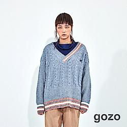 gozo 學院風V領麻花針織上衣(二色)