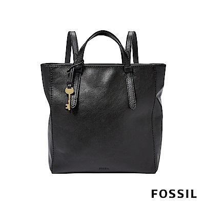 FOSSIL CAMILLA 真皮三用小後背包-黑色