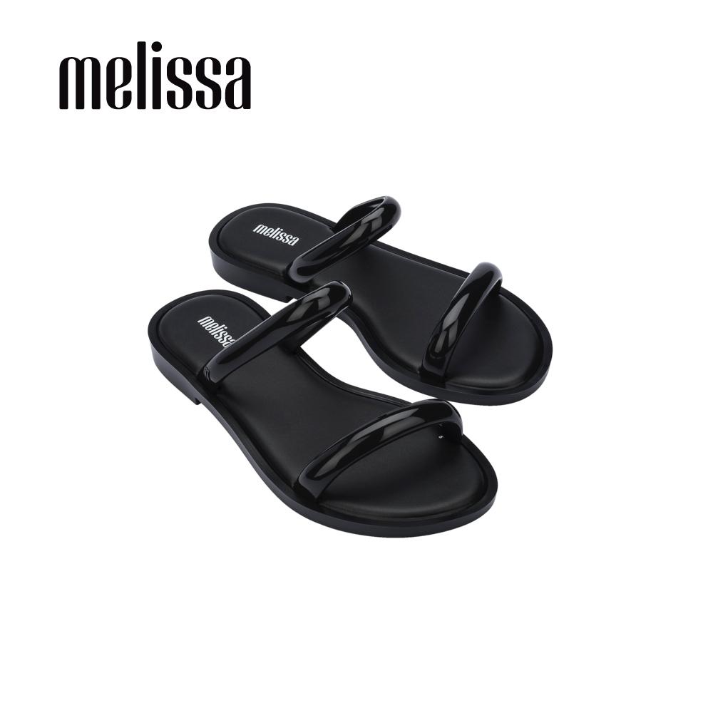 Melissa WAVE細帶平底涼拖鞋-黑