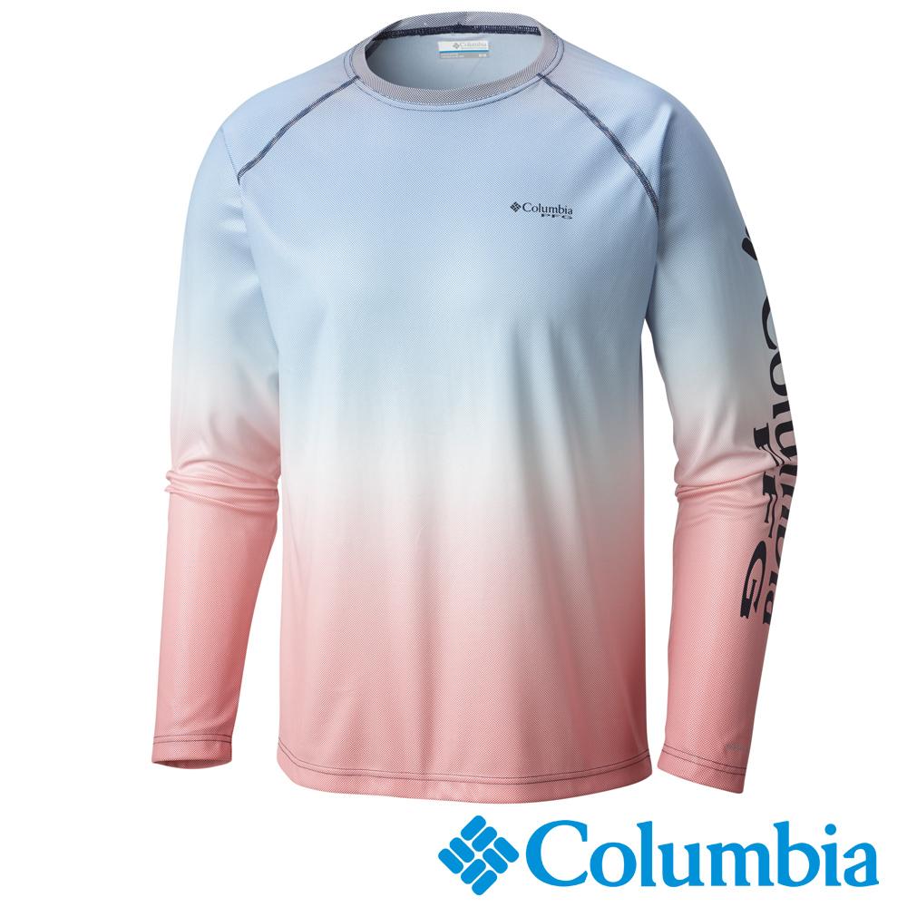 Columbia哥倫比亞 男款-PFG防曬50快排長袖上衣-粉紅UFE02190PK