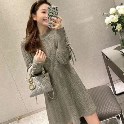 Secret Closet-麻花收腰氣質毛衣裙