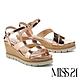 涼鞋 MISS 21 簡約質感繫帶牛皮楔型高跟涼鞋-金 product thumbnail 1