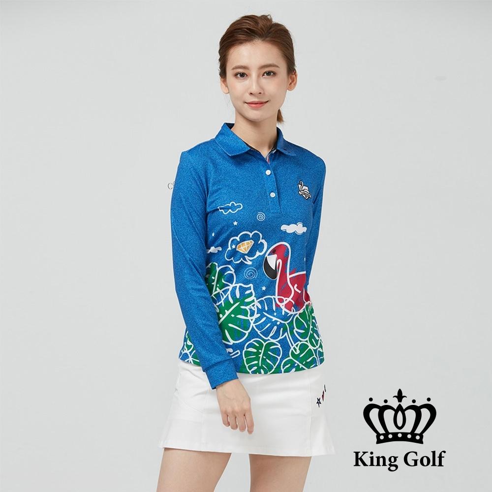 【KING GOLF】火鶴印花立體刺繡薄款長袖POLO衫-藍色