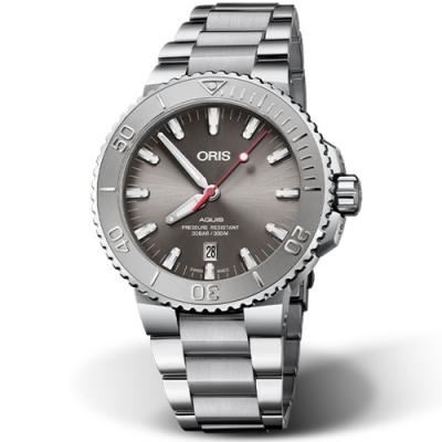 ORIS Aquis Relief 時間之海日期潛水錶-43.5mm灰面/鋼帶