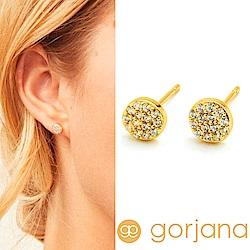 GORJANA滿鑽迷你圓耳環 金色鑲鑽錢幣耳環Pristine Shimmer Studs