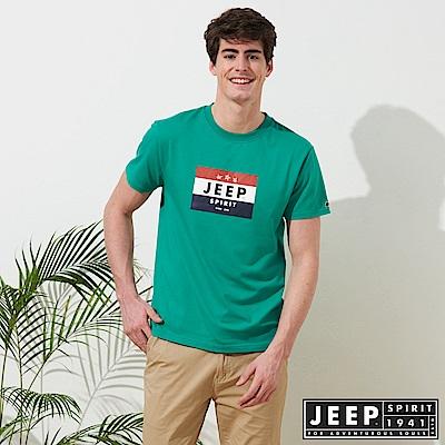 JEEP 品牌LOGO造型短袖TEE-綠色