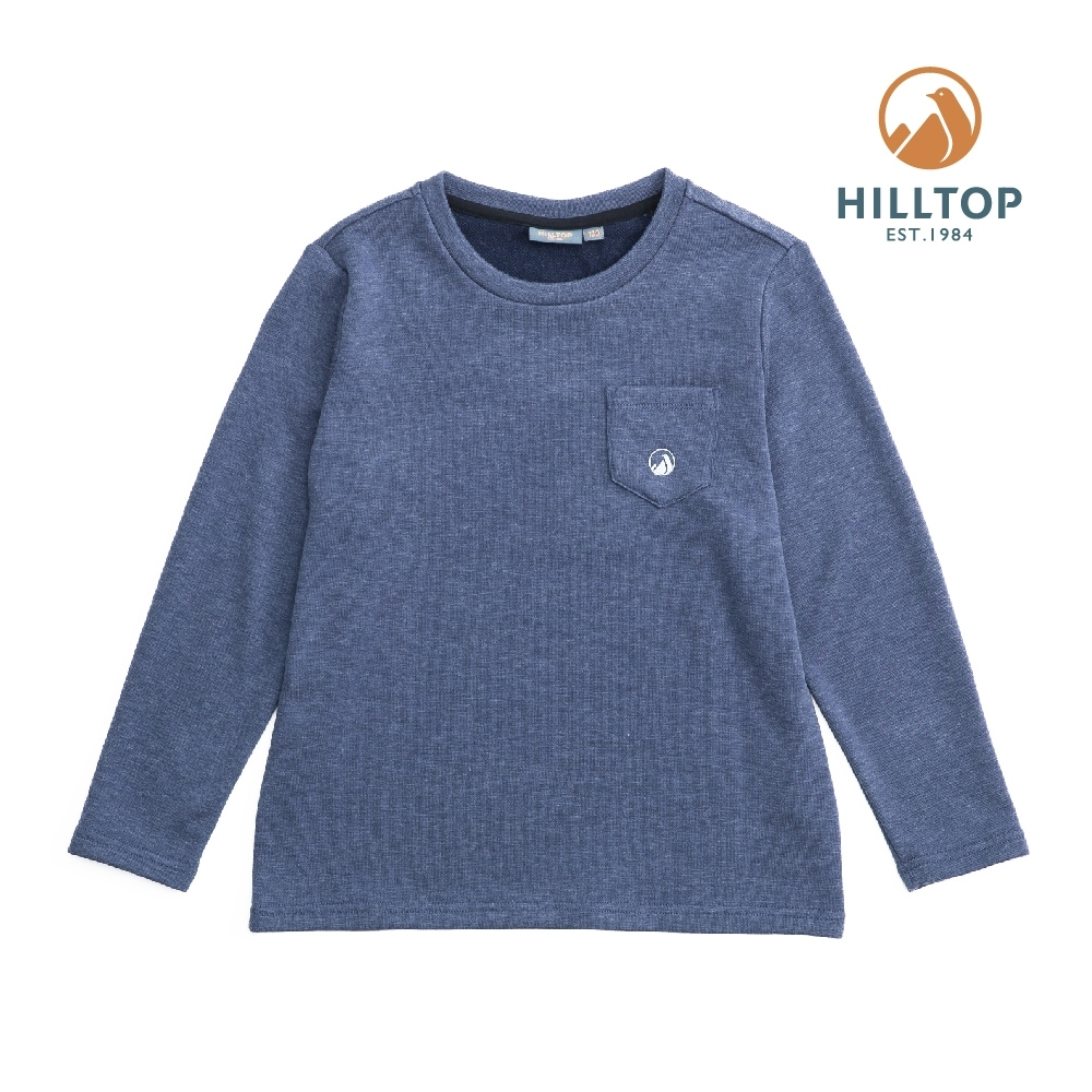 【hilltop山頂鳥】童款混羊毛刷毛保暖上衣H51C91憂鬱藍