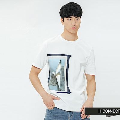 H:CONNECT 韓國品牌 男裝-情境圖印圓領T-shirt-白